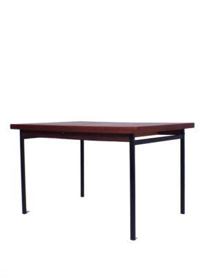tafel uitschuifbaar - teak - zwart metalen poten