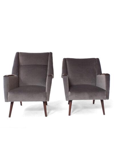 Grijs velours lounge stoel