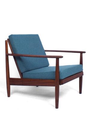 Teak blauw groene lounge stoel