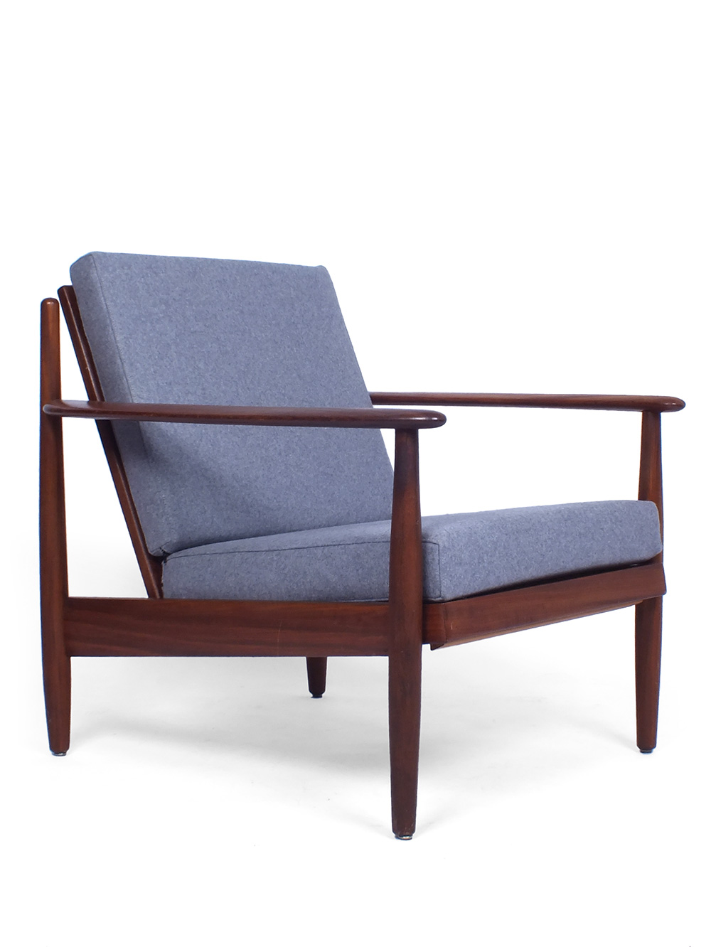 Lounge Stoel Bed.Danish Style Teak Violet Grey Colored Lounge Chair
