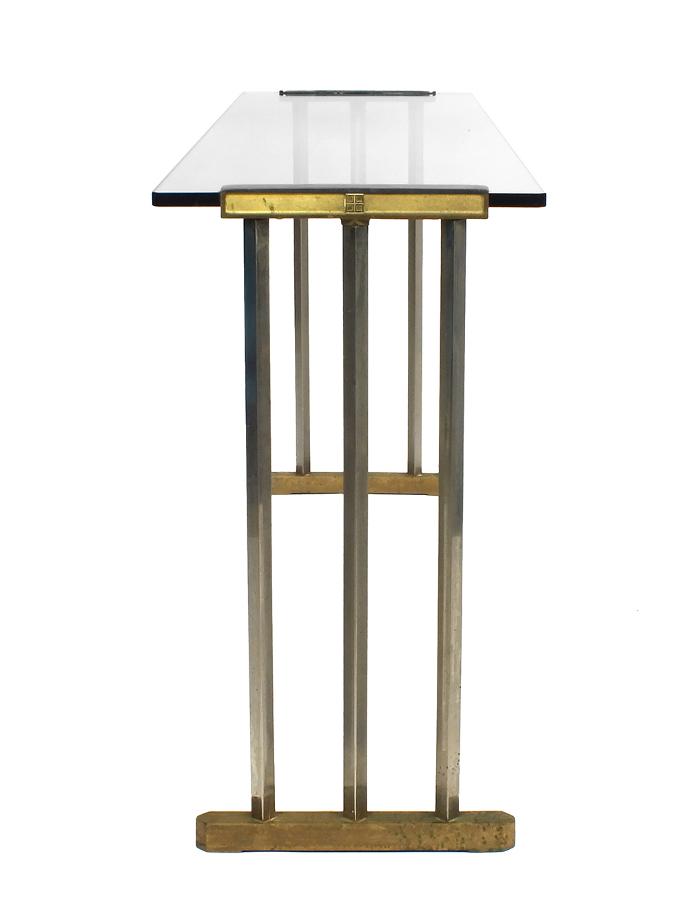 Glazen Sidetable Messing.Peter Ghyczy Glass And Brass Side Table Console Tafel