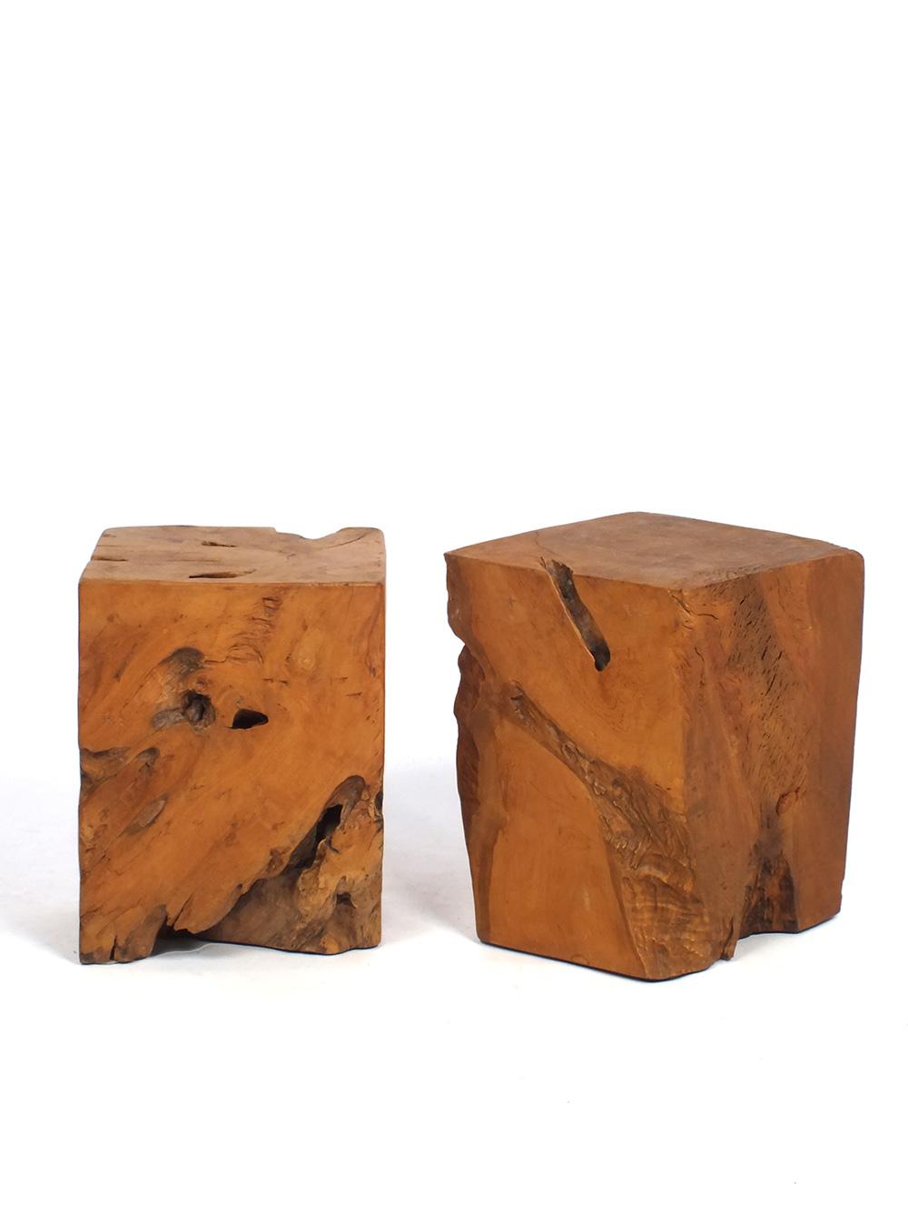 Massief Houten Blok Bijzettafel.Kruk Bijzettafel Massief Houten Blok