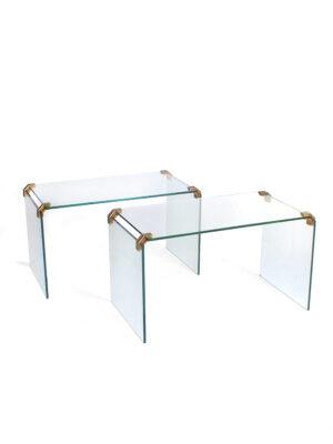 Glazen met messing verbindingsstukken bijzettafel