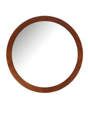Ronde teak spiegel