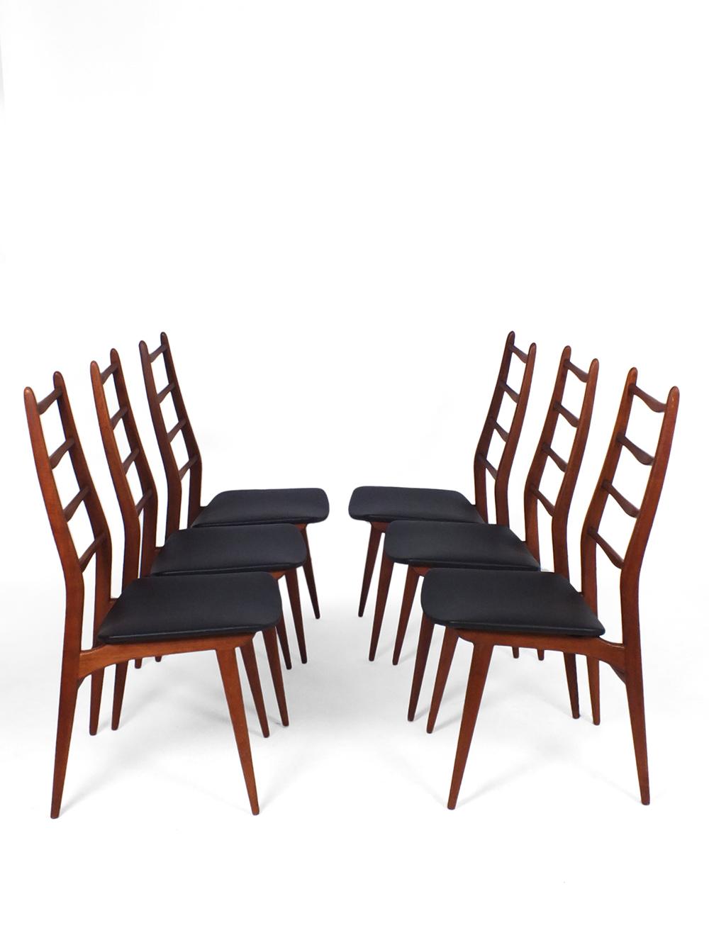 Set 6 Eetkamerstoelen.Set Of 6 Teak Dining Chairs Vaen