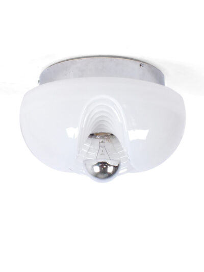 White glass 'wave' ceiling or wall lamp – Peill and Putzler