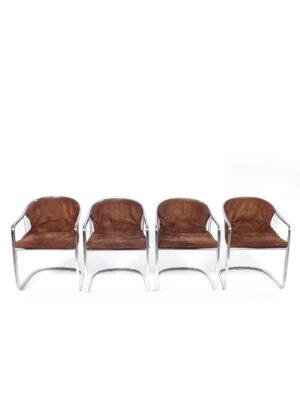 Set chromen suede zitting stoelen