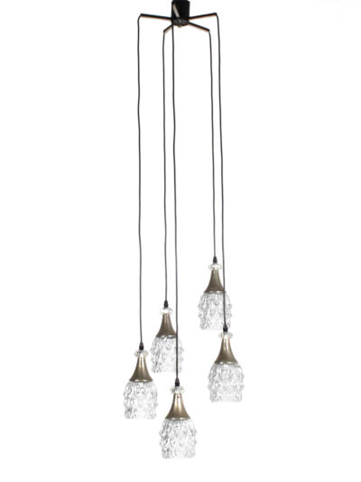 fifties hanglamp met 5 verstelbare glazen kelken
