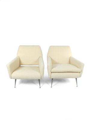 lounge stoel met Bouclé stof
