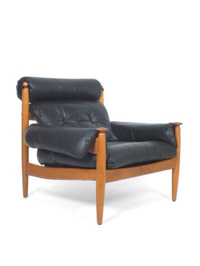 Grote leren stoel stijl Jean Gillon