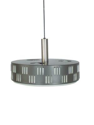 Grijs metalen hanglamp met glazen buisjes