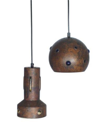 Koper met glazen binnenwand hanglampen