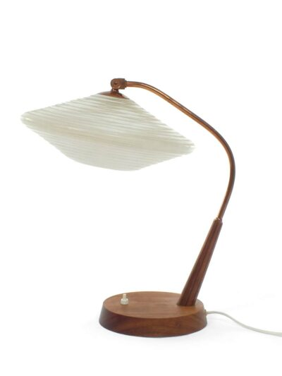 Fifties tafellamp met glazen kap