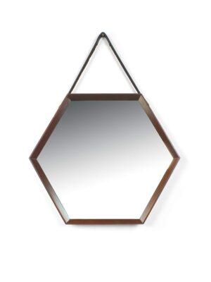 spiegel 6 kantig met houten rand