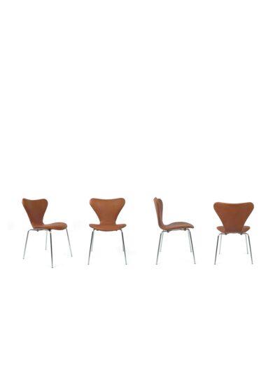 set Leren vlinderstoelen - Fritz Hansen - Arne Jacobsen