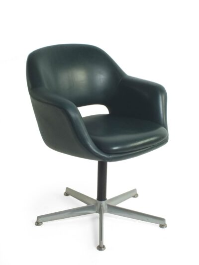 Green leather chair - knoll