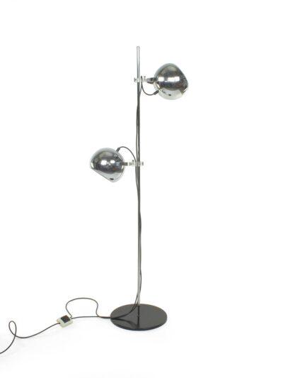 Vloerlamp 140 cm hoog chromen bollen
